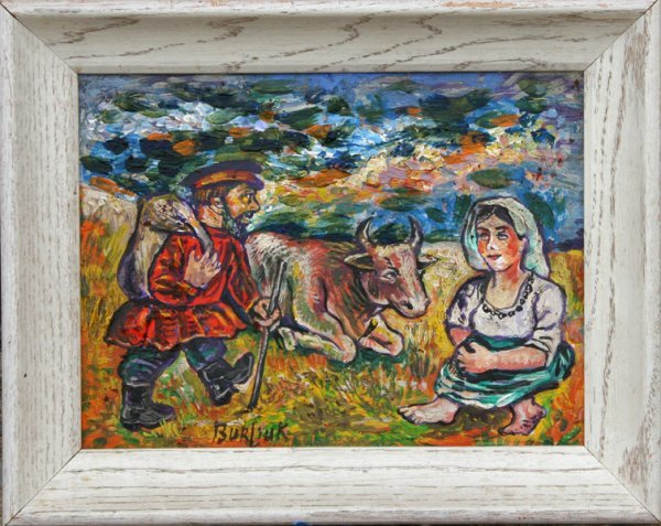 16: David Burliuk, Man and Woman in Field, Painting