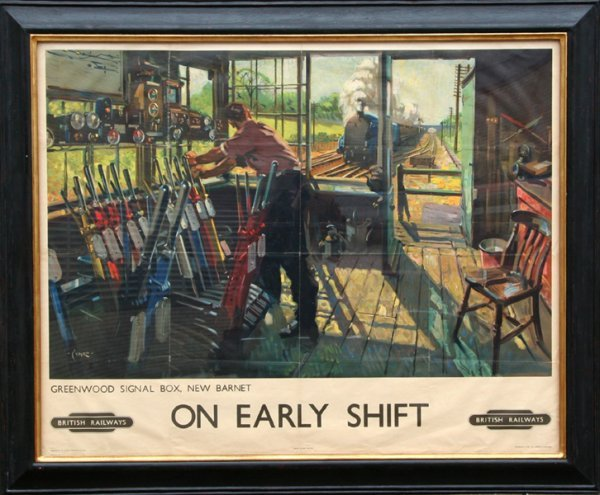 22: Terence Cuneo, On Early Shift, Lithograph Poster