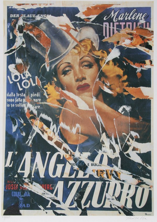 27: Mimmo Rotella, Marlene Dietrich, Serigraph with Col
