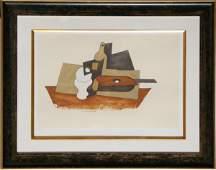 81: Pablo Picasso, Guitare Verre et Bouteille, Lithogra