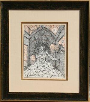 10: J. Benito Zamora, Tentacion, Pen and Ink Drawing