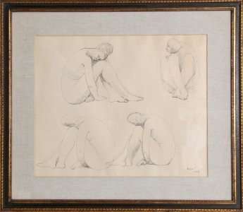 14: Francisco Zuniga, Study for Marbles, Ink Drawing