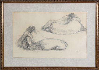15: Francisco Zuniga, Seated Pair, Pastel Drawing