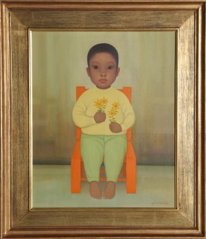 16: Gustavo Montoya, Nino en Amarillo, Painting