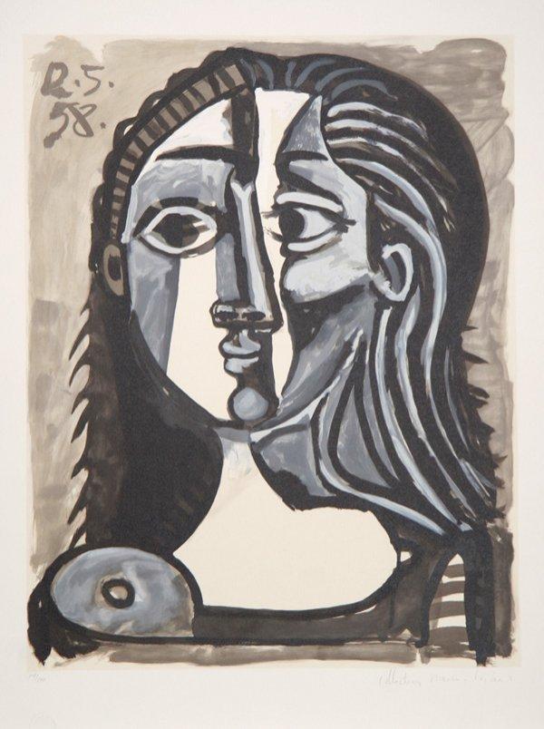 9: Pablo Picasso, Tete de Femme, Lithograph