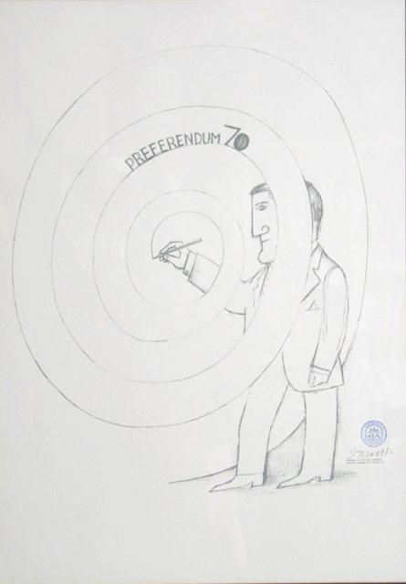 21: Saul Steinberg, Preferendum 70, Lithograph