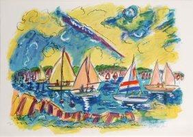 Wayne Ensrud, Afternoon Sails, Lithograph