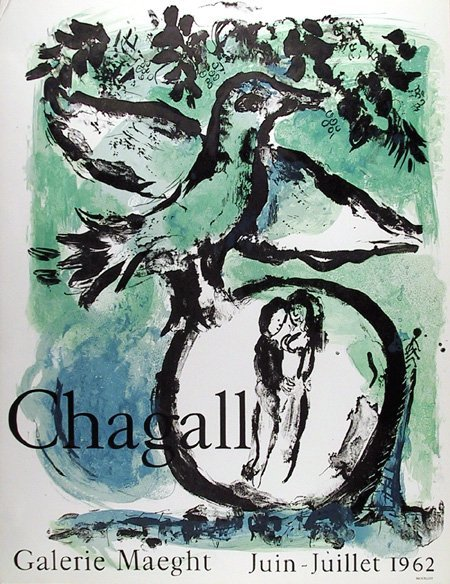 66: Marc Chagall, Green Bird, Lithograph