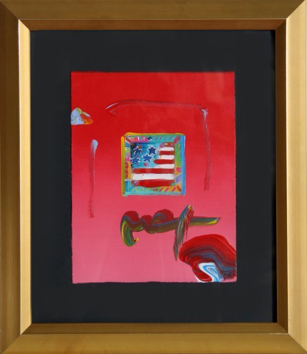 177: Peter Max, Flag with Heart, Painting with Collage