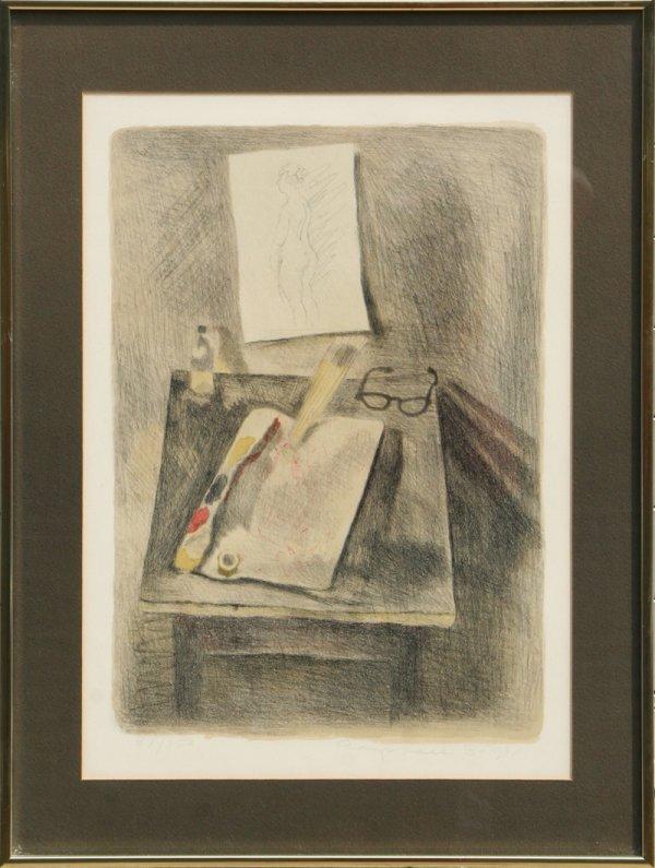 339: Raphael Soyer, Artist's Worktable, Lithograph