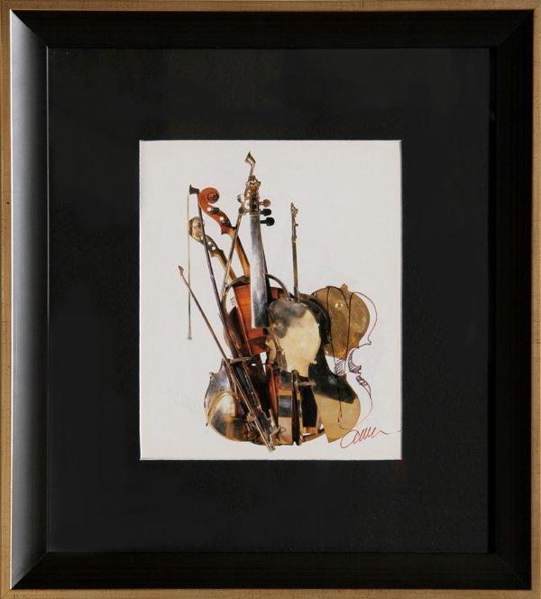 11: Arman, Violin, Marker Drawing over Print
