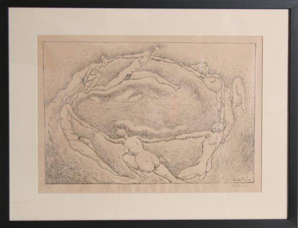 19: Rudolf Bauer, La Ronde, Lithograph