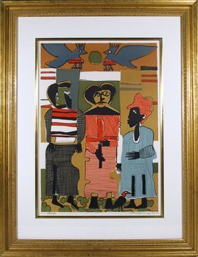 21: Romare Bearden, Firebirds, Lithograph