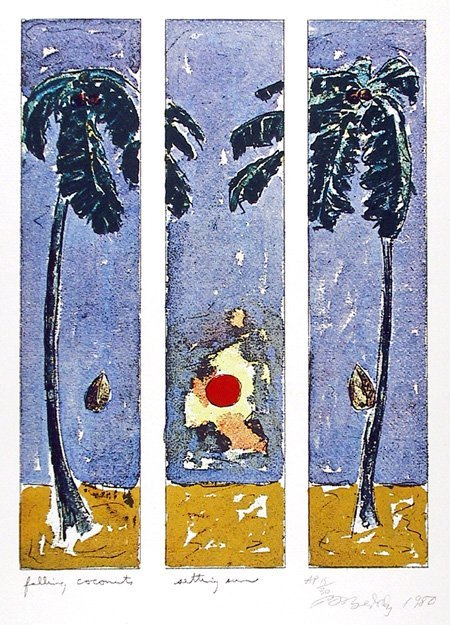 24: Bill Beckley, Falling Coconut, Lithograph