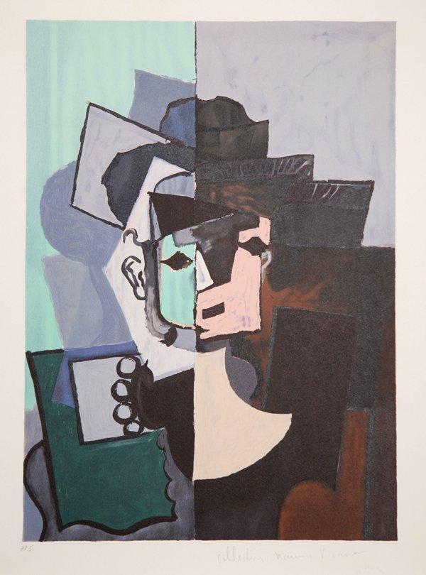 16: Pablo Picasso, Face sur Fond Rose et Vert, Lithogra