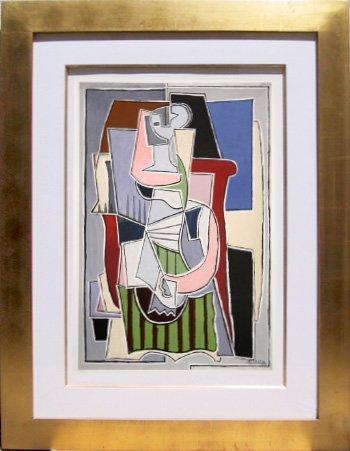 22: Pablo Picasso, Femme au Tablier Raye Vert, Lithogra