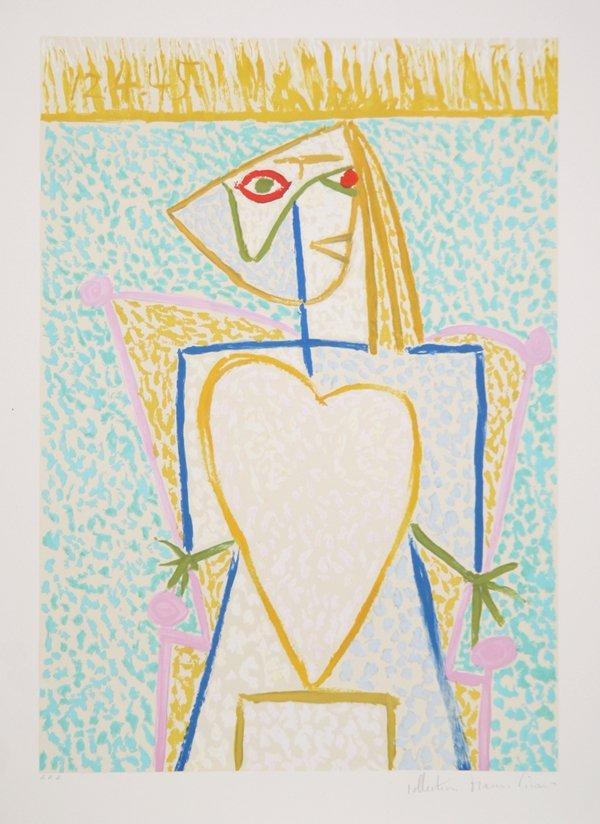 98: Pablo Picasso, Femme au Buste en Coeur, Lithograph
