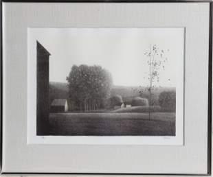 Robert Kipniss, Cotton Ball Trees Center, Lithograph