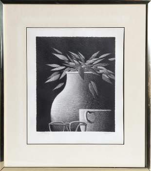 Robert Kipniss, Tall Vase with Glasses, Lithograph