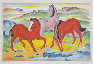 Franz Marc, Grazing Horses IV, Screenprint Poster