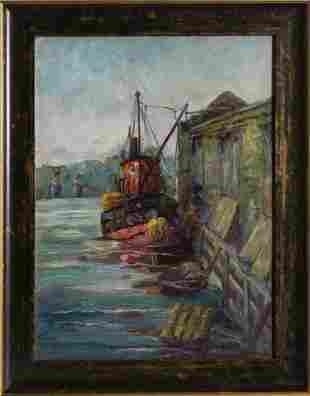 Margaretha E. Albers, New Rochelle Pier, Oil Painting