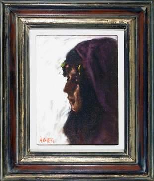 Philippe Alfieri, Profile of Girl in Purple Head Scarf,