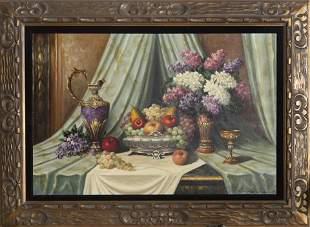 Bela Balough, Classical Still Life, Oil Painting