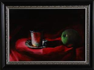 Youri Broitman, Still Life with Apple and Cup, Oil