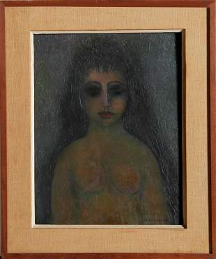 Miriam Bromberg, Nude with Dark Eyes, Oil Painting