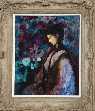 Donald Roy Purdy, Black Hair, Purple Girl, Oil Painting
