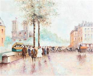 Paul Romain, Paris Streets with Notre Dame, Acrylic