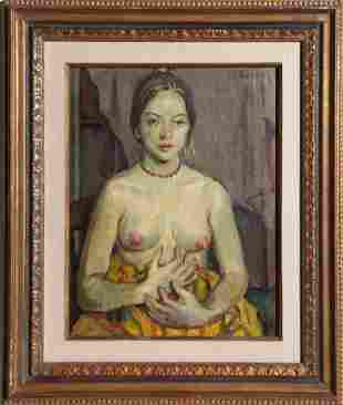 Moses Soyer, Nude with Yellow Blanket, Oil Painting
