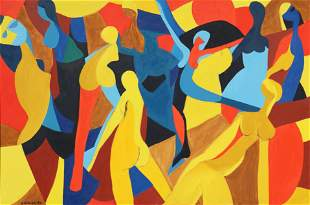 Arnold Weber, Dancing Female Figures, Oil Painting