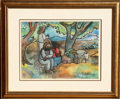 9: Diego Rivera, Peasant Family, Ink and Watercolor