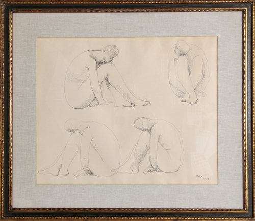 21: Francisco Zuniga, Study for Marbles, Ink Drawing