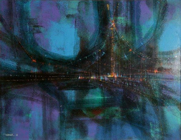 23: Leonardo Nierman, El Puente (Variation), Painting