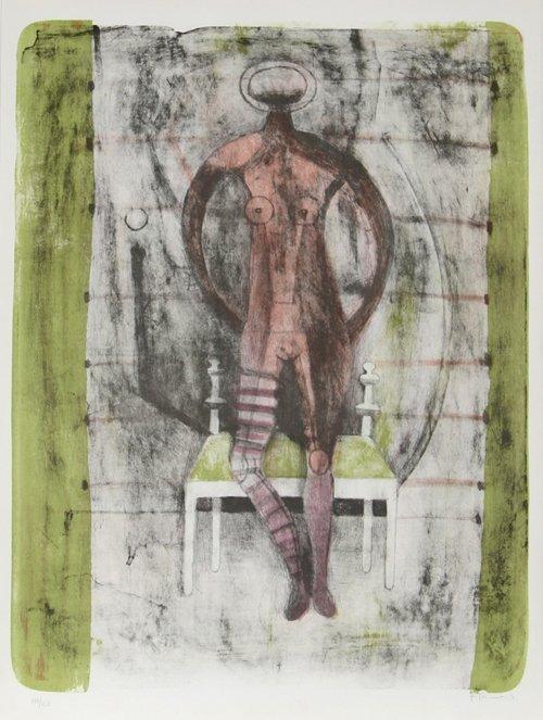 39: Rufino Tamayo, Mujer con Medias Malva, Lithograph