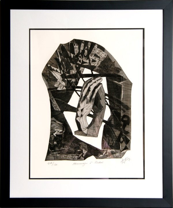 1: Henry-Georges Adam, Homage a Rodin, Etching
