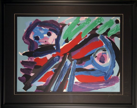 8: Karel Appel, Walking with my Bird, Lithograph