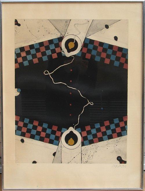 9: Tetsuo Araki, Abstract Japanese Aquatint Etching