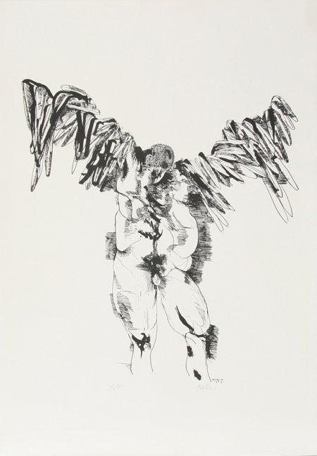 23: Leonard Baskin, Icarus, Lithograph