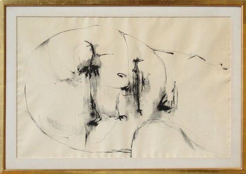 24: Leonard Baskin, Portrait Ink Drawing
