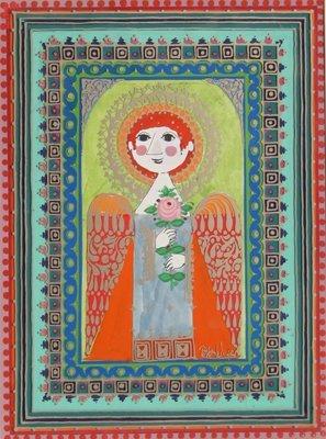 12: Bjorn Wiinblad, Angel Holding Rose, Painting
