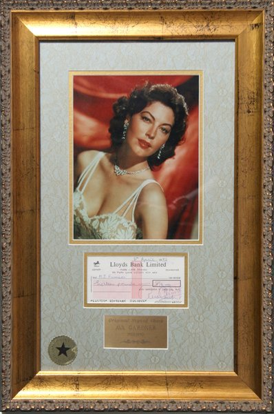 16: Ava Gardner, Signed Check with Photograph