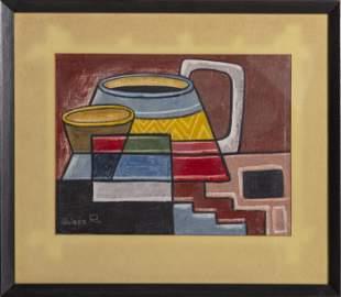Raphael Moises, Abstract Still Life, Gouache on Canvas,