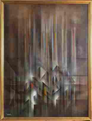 Leonardo Nierman, Ciudad Prismatica, Oil on Masonite,
