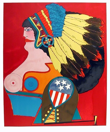 7: Richard Lindner, Miss American Indian, Lithograph