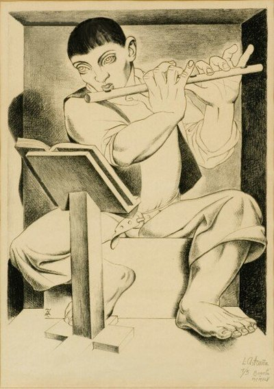 500: Luis Alberto Acuna, Boy with Flute, Lithograph