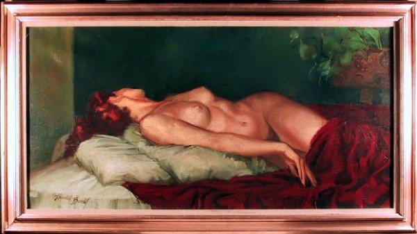 515: Daniel Barry, Reclining Nude, Oil on Canvas