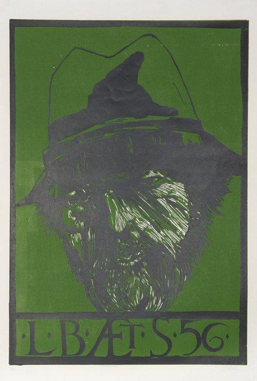516: Leonard Baskin, Self Portrait, Woodcut